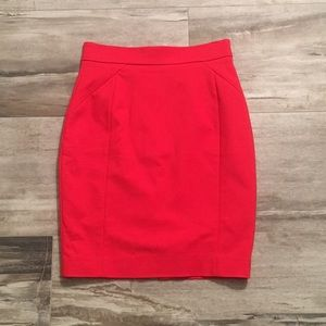 Red H&M pencil skirt in size 4 fits like a 0